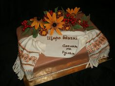 Ukrainian cake art with embroidered cloth