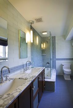 Double Sink Design Ideas, Pictures, Remodel, and Decor - page 113. Like the flooring tile.