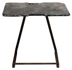 One Kings Lane - Style Steals - Tegan End Table, Rustic Gray/Gold