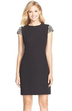 Eliza J Embellished Sleeve Crepe Shift Dress available at #Nordstrom