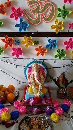 Ganesh Chaturthi Decoration Ideas - like the colors
