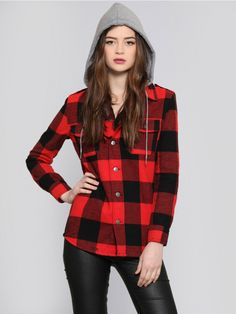 GLAMOUR KILLS Red flannel jacket featuring an allover plaid print with black accents, a button up closure and patch pockets at the front. Includes a gray hood with a self tie closure, button closures at the cuffs and a slightly rounded hemline.
