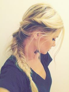 Twists with messy fishtail braid.