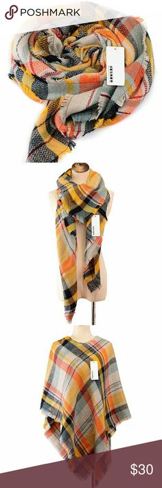 """NWT oversized tartan blanket scarf Gorgoeus, super soft and warm acrylic scarf. Measures approx 55""""x55"""". Amazing for fall and winter. Feel free to make an offer! Boutique  Accessories Scarves & Wraps"""