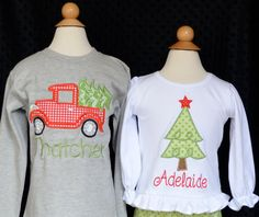 Christmas Tree or Truck with Tree Applique Shirt by PixieStitchLLC