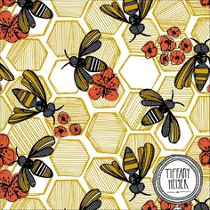 Honey Bee Hexagon surface pattern by Tiffany Heiger available on Spoonflower on gift wrap, fabric, and wallpaper.