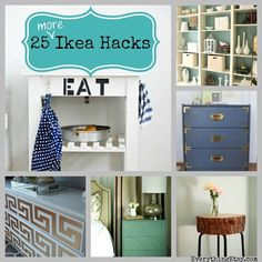 """25 great IKEA Hacks"" -I DO LOVE to shop at Ikea, primarily because I know how far wallpaper, fabric, stain, or paint can take a piece of simple furniture. Hats off to this collection of great Ikea re-do's!"