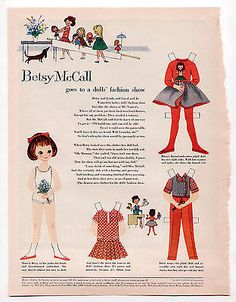 Vintage Betsy McCall Goes to a Doll's Fashion Show Paper Dolls 1959 uncut