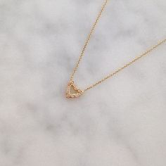 Elisa Solomon Jewelry 18 karat yellow gold tiny heart necklace with white diamonds, available @katiediamondstore
