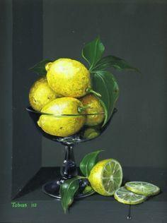 British Artist Tobias Harrison - Lemons in a Glass Dish Still Life Drawing, Still Life Oil Painting, Still Life Art, Lemon Painting, Fruit Painting, Still Life Photos, Realistic Paintings, Fruit Art, Pastel Art