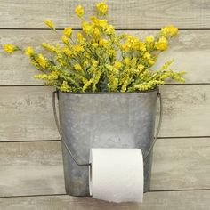 This is such a fun piece for the bathroom, we couldn't resist. We've never seen anything like this unusual toilet paper and magazine holder! It's so perfectly rustic, it's the finishing touch you've been looking for in your country primitive or farmhouse bathroom. Of course you can always repurpose this tp holder into a wall basket for flowers if needed. How many TP holders offer that?!?The oval shaped galvanized bucket features a wire handle that's easily removed and ...