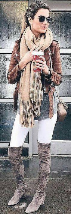 #winter #fashion /  Black Jacket / Beige Fringe Scarf / White Skinny Jeans / Dark Velvet OTK Boots