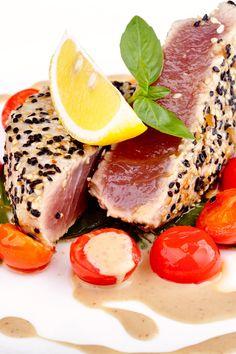 Course(s): Entrée; Ingredients: honey, mirin, olive oil, rice wine vinegar, sesame oil, sesame seeds, soy sauce, tuna steak, wasabi