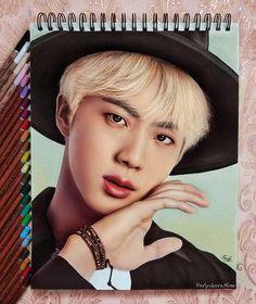 Jin ✏🎨 ✨ this drawing is gorgeous! Bilal Hassani, Kpop Drawings, Color Pencil Art, Bts Chibi, Bts Fans, I Love Bts, Kpop Fanart, Worldwide Handsome, Bts Photo