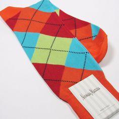 NEIMAN MARCUS Lux Full Argyle Dress Socks Bright Orange/Multi Made in Italy New #NeimanMarcus #Dress