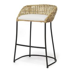 """Double wall open rattan weave wrapped around iron frame.  Available in 2 sizes:  Counter Stool - 24""""H x 24""""W Bar Stool - 30""""H x 24""""W"""