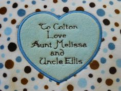 Minky Heart blanket label by BunnyInAteacup on Etsy, $8.00