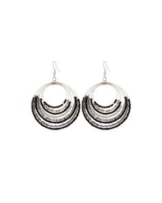 Stunning Black And Silver Beaded Earrings