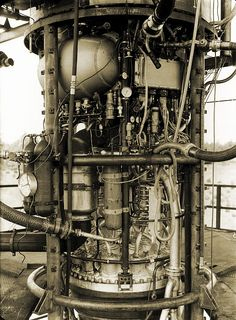 V-2 rocket engine on a test stand, Peenemunde, Usedom Island, Germany.