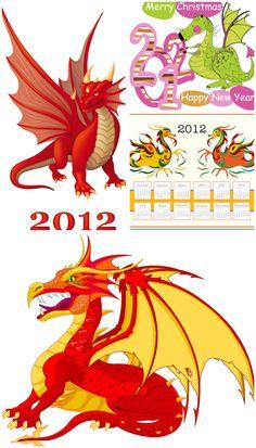 Cartoon dragons vector