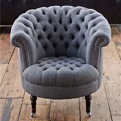 Tufted Gray Wool Chair