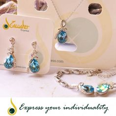 www.jawaherexpress.com Jewelry Set - Water Drop Style Necklace, Earring and Bracelet