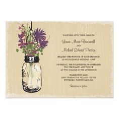 Vintage Mason Jar and Wildflowers Wedding Invite. IF THESE WEREN'T $2 A PIECE, THESE WOULD BE MINE!!