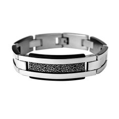 """Polished Stainless Steel """"H""""Link bracelet with Black face panel and Gold design http://lily316.com.au/shop/bracelets-mens-stainless-steel/polished-steel-link-bracelet-with-black-and-gold-panel/"""