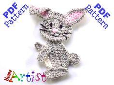 Rabbit Crochet Applique Pattern