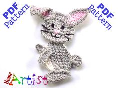 Rabbit Crochet Applique Pattern This is an -INSTANT DOWNLOAD- pattern of a cute…