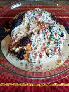 Delicious and creamy, this chicken in basil cream recipe brings out the best of late summer, but can be enjoyed year-round. - Chicken in Basil Cream (9 pts)