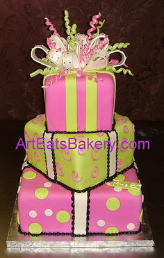 Three tier square fondant birthday cake with green and pink polka dot ribbons | Flickr - Photo Sharing!
