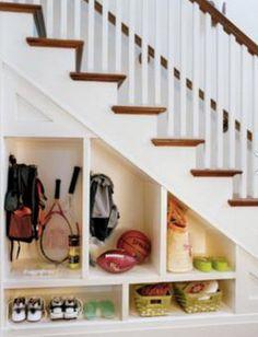 How To Organize Under Stairs Space - Hallway Under Stairs Storage Ideas. Do this to basement stairs. Shoe Storage Under Stairs, Space Under Stairs, Staircase Storage, Hallway Storage, Stair Storage, Under Staircase Ideas, Basement Storage, Garage Storage, Under Steps Storage