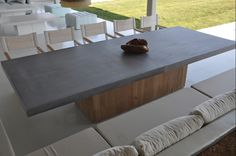 concrete and solid oak dining table, custom made Solid Oak Dining Table, Dining Tables, Outdoor Dining, Outdoor Decor, Outdoor Gardens, Solid Wood, Concrete, Outdoor Furniture Sets, Greek