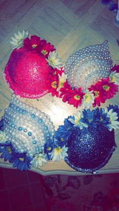 Glitter and Pearl Rave Bra on Etsy, $80.00