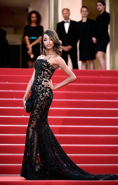 "Jourdan Dunn in Ralph & Russo at the premiere of ""Little Prince"" at the Cannes Film Festival. (Photo: Ian Gavan/Getty Images)"