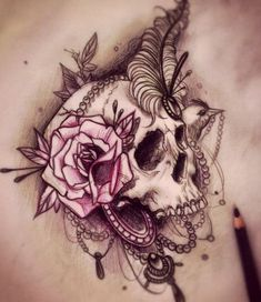 Amazing design. Skull from an old school lady - with rose, feather and some necklaces. #tattoo #tattoos #ink #inked