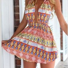 3814679 Sexy deep V printed dress