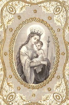 1870 Blessed Mother Virgin Mary with Crown & by 12 Stars Jesus And Mary Pictures, Mary And Jesus, Blessed Mother Mary, Blessed Virgin Mary, Religious Icons, Religious Art, Jesus Family Tree, Vintage Holy Cards, Christian Artwork