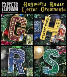 Hogwarts House Initial Ornaments with Free Printable – Expecto Craftonum Harry Potter Christmas Decorations, Harry Potter Ornaments, Harry Potter Christmas Tree, Hogwarts Christmas, Harry Potter Decor, Christmas Signs, Hogwarts House Colors, Hogwarts Houses, Letter Ornaments