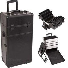 Black Croc Trolley Makeup Case - I3463