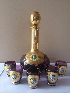 Czech Bohemian Glass Amethyst Gold Enamel Flowers Decanter Set Hand Painted