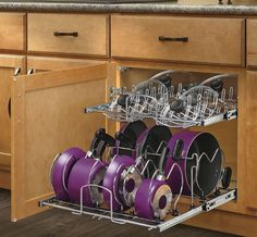 Or give your pots a way to lie low with a pull-out base organizer. | Design one for bottom of Pantry