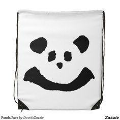 Panda Face Drawstring Bag  Available on more products! Type in the name of the design in the search bar on my Zazzle Products Page. Thanks for looking!   #bag #tote #accessory #carry #get #around #shopping #fun #zazzle #buy #sale #cute #cuddly #panda #bear #cartoon #illustration #black #white #drawing #nature #planet #earth #animal #friend  #drawstring