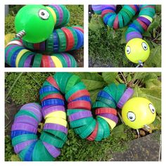 Recycled, Upcycled milk bottle top bendy snake made from milk bottle lids, bendy wire, plastic ball for its head. Great for kids to make and wiggle!