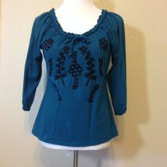 Dark Turquoise Knit Blouse with Black Embroidered Flowers by I.N.C. International Concepts, Ladies Medium to Large, Hippie Shirt by Oldtonewjewels on Etsy