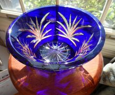 Large Antque Hand Blown Cobalt Blue Cut to Clear by ObjetDArtifact, $35.00