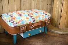 Pet Bed Suitcase with two Pillow Cases Owl Print Turquoise