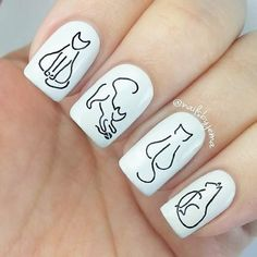 46 Purrfect Cat Nail Art Designs at CherryCherryBeaut. Nail art is a creative way to color, decora Cat Nail Art, Animal Nail Art, Cat Nails, Love Nails, Pretty Nails, Nail Art Designs, Glitter Nail Art, Nail Art Hacks, Nail Arts