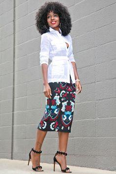 Military Inspired Voile Shirt + Garland Print Pencil Skirt